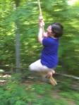 Susan Niebur, midair -- on Kristen's rope swing